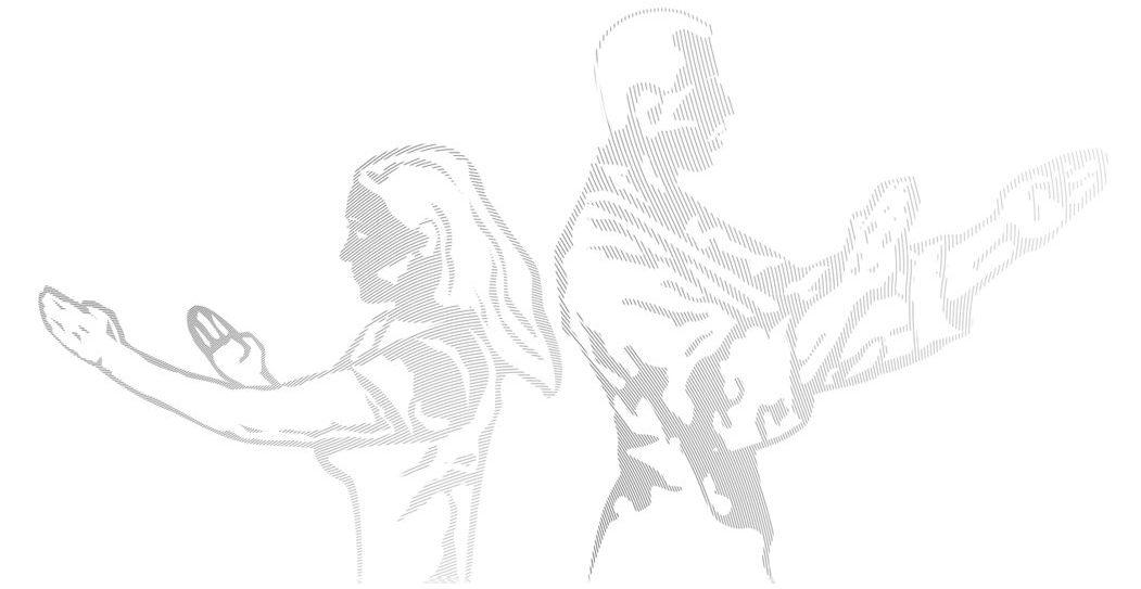 Frau und Mann stehen Rücken an Rücken wie im Unterricht